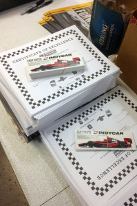 Indianapolis 500 education certificates and materials