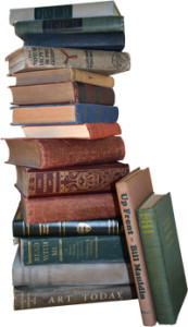 stack of books for scanning